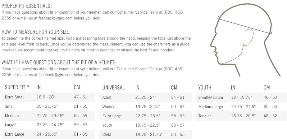 Giro Cinder MIPS Size Chart