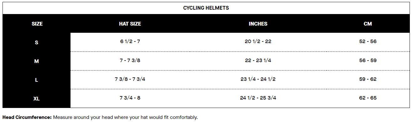 Louis Garneau helmet sizing chart