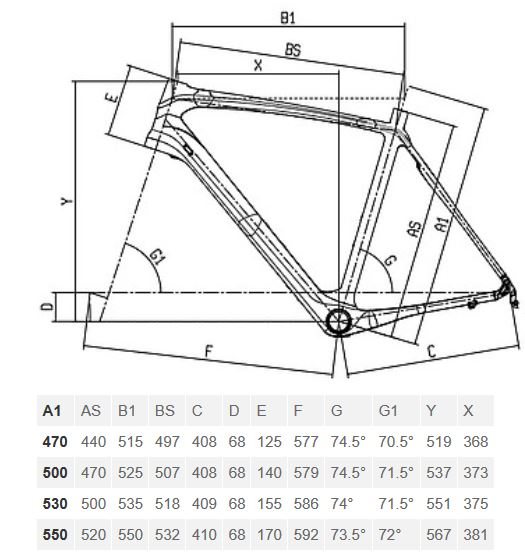 Bianchi Infinito CV Dama geometry chart