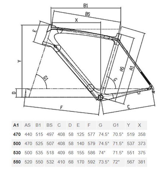 Bianchi Intenso Dama geometry chart
