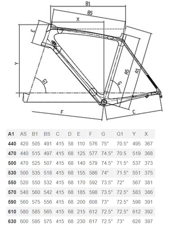 Bianchi Intenso Disc geometry chart