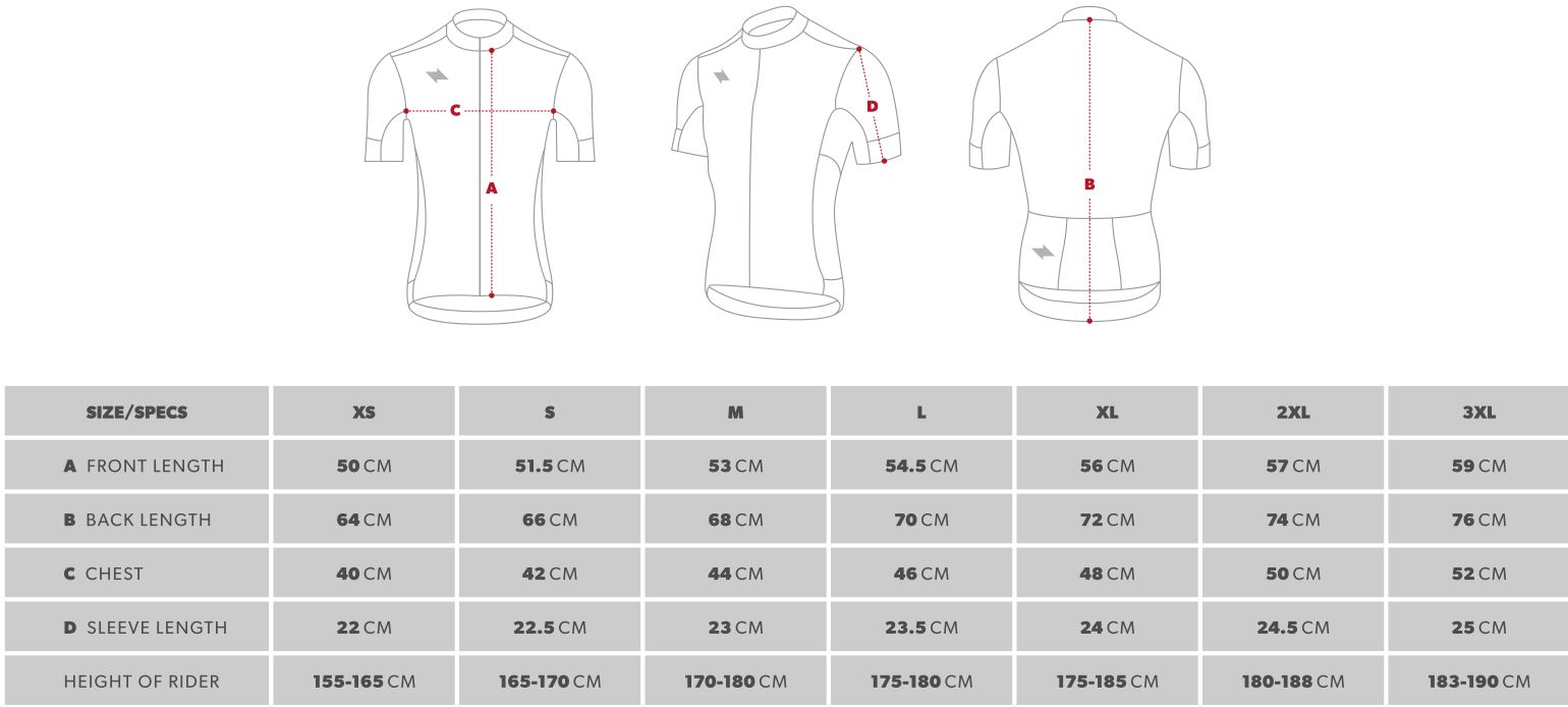 State Bicycle Co. Jersey Sizing Chart