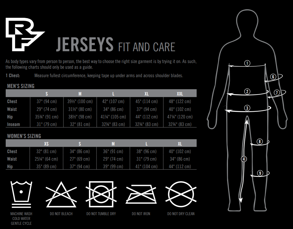 Race Face jersey sizing chart