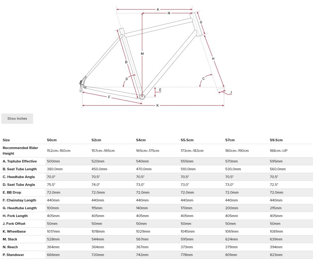Salsa Journeyman Claris 700 geometry chart