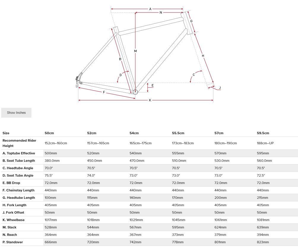 Salsa Journeyman Claris 700 geometry chart