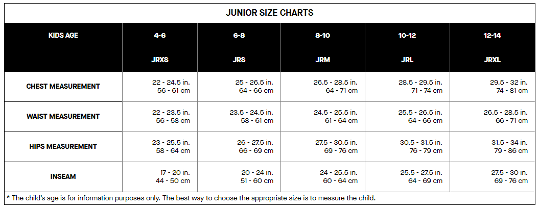 Louis Garneau junior's sizing chart