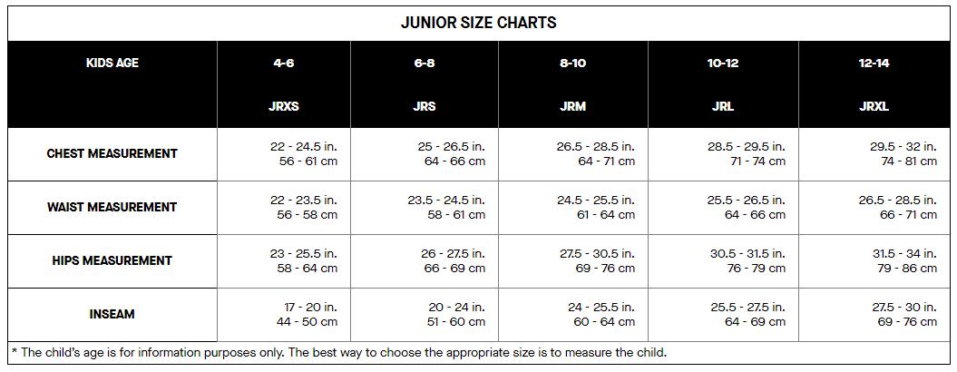 Louis Garneau junior's sizing chart