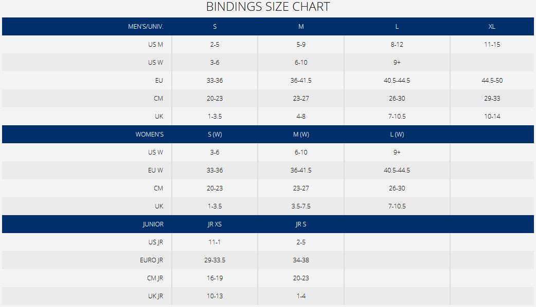 K2 Binding Size Chart