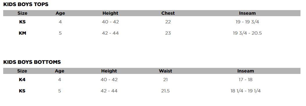 Fox Kids Clothing Sizing Chart