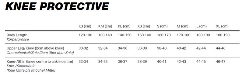 iXS Knee Protective sizing chart