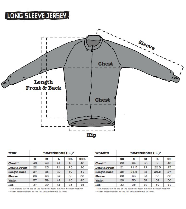 Surly Long Sleeve Jersey sizing chart