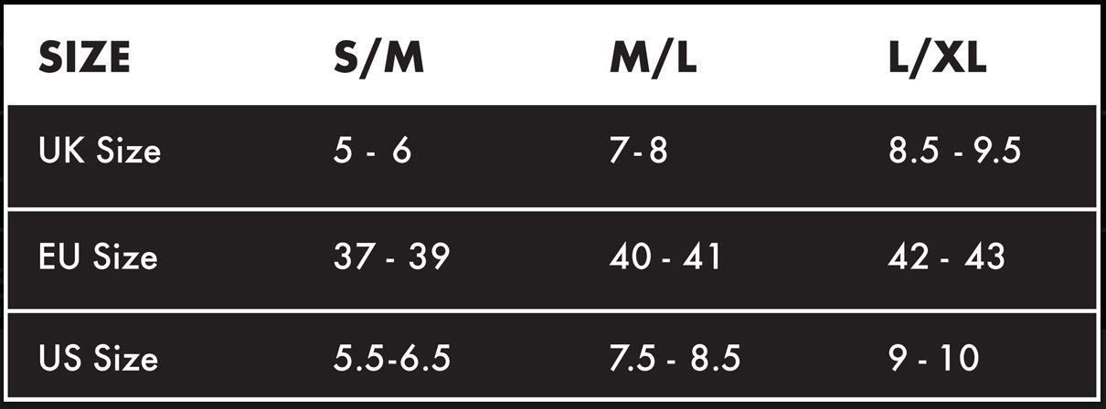 Endura MT500 overshoe sizing guide