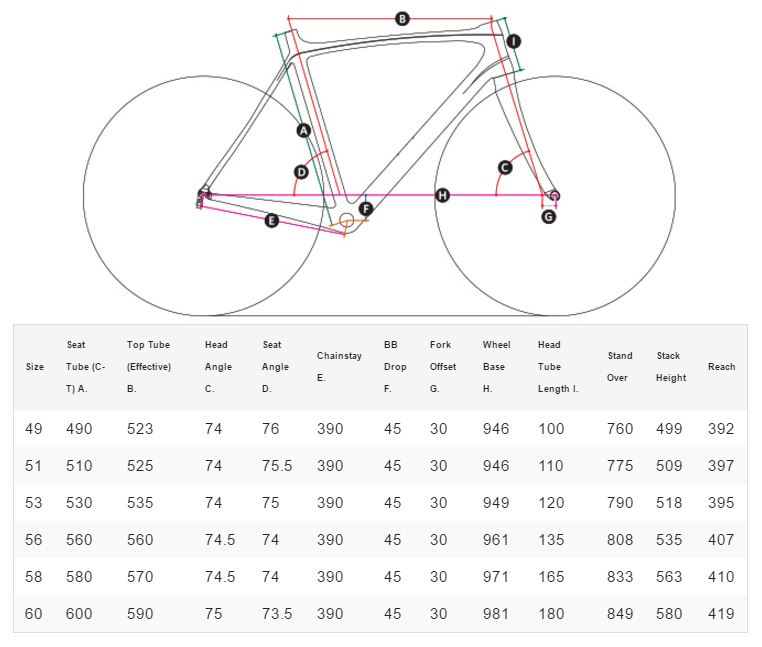 Masi Speciale Sprint geometry chart