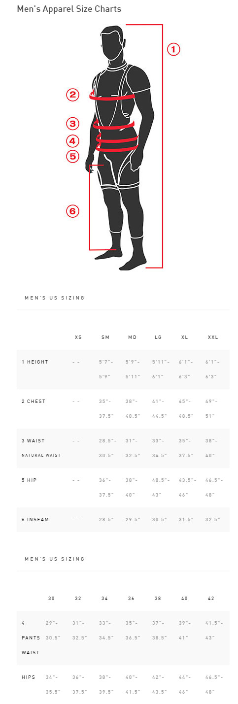 Specialized Demo Pro Pants sizing chart