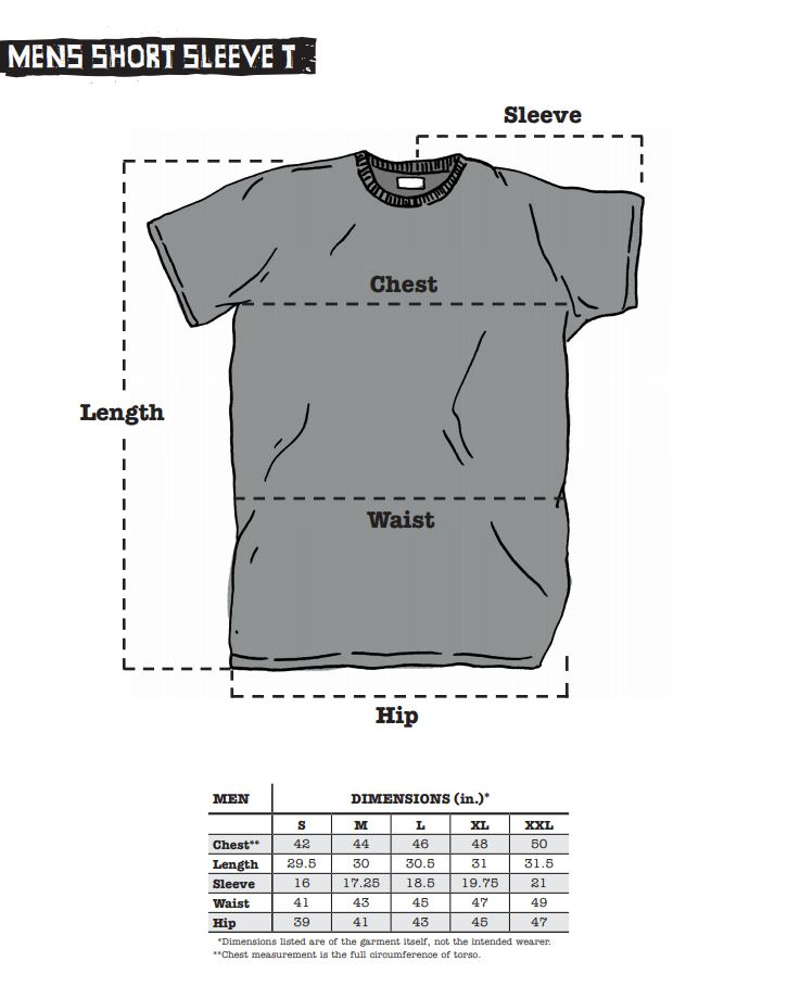 Surly Men's Short Sleeve Tee sizing chart