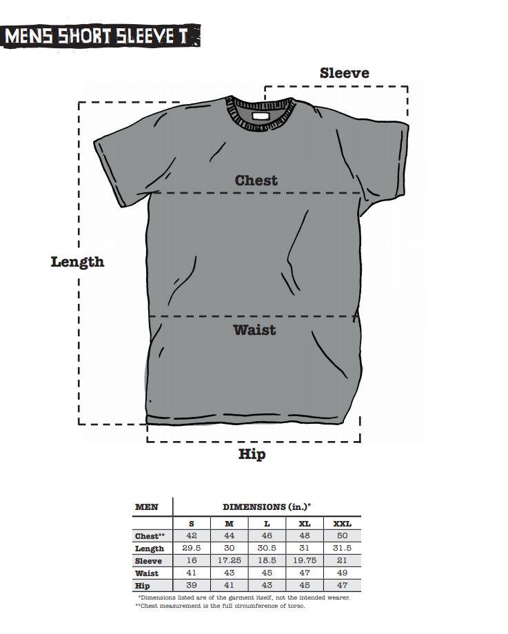 Surly T-Shirt sizing chart