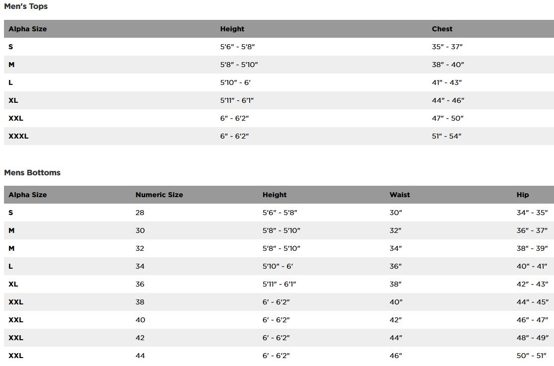 Fox Racing men's sizing chart