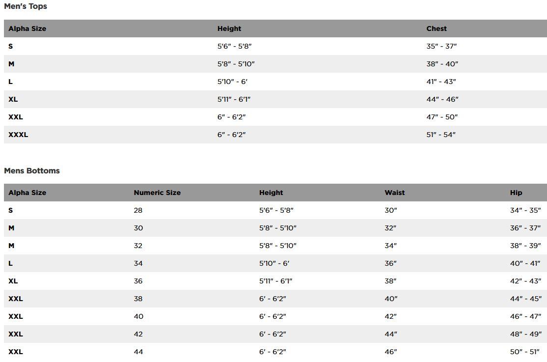 Fox Racing men's sizing chart