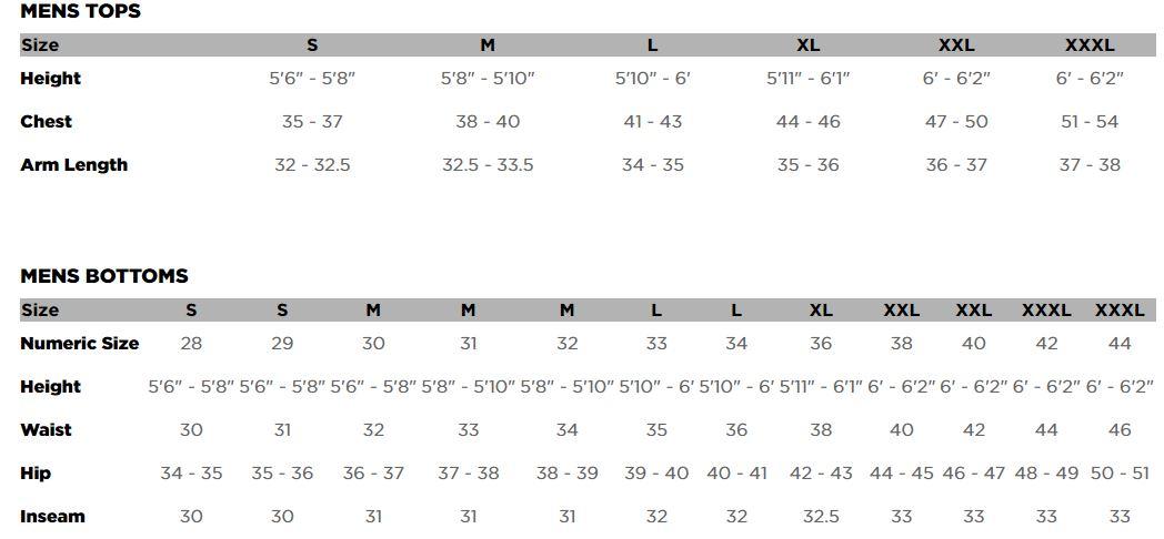 Fox Men's Clothing Sizing Chart
