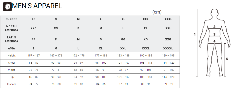 Shimano men's apparel sizing chart