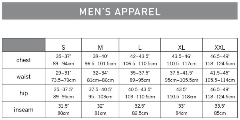 Pearl Izumi Men's Apparel sizing chart