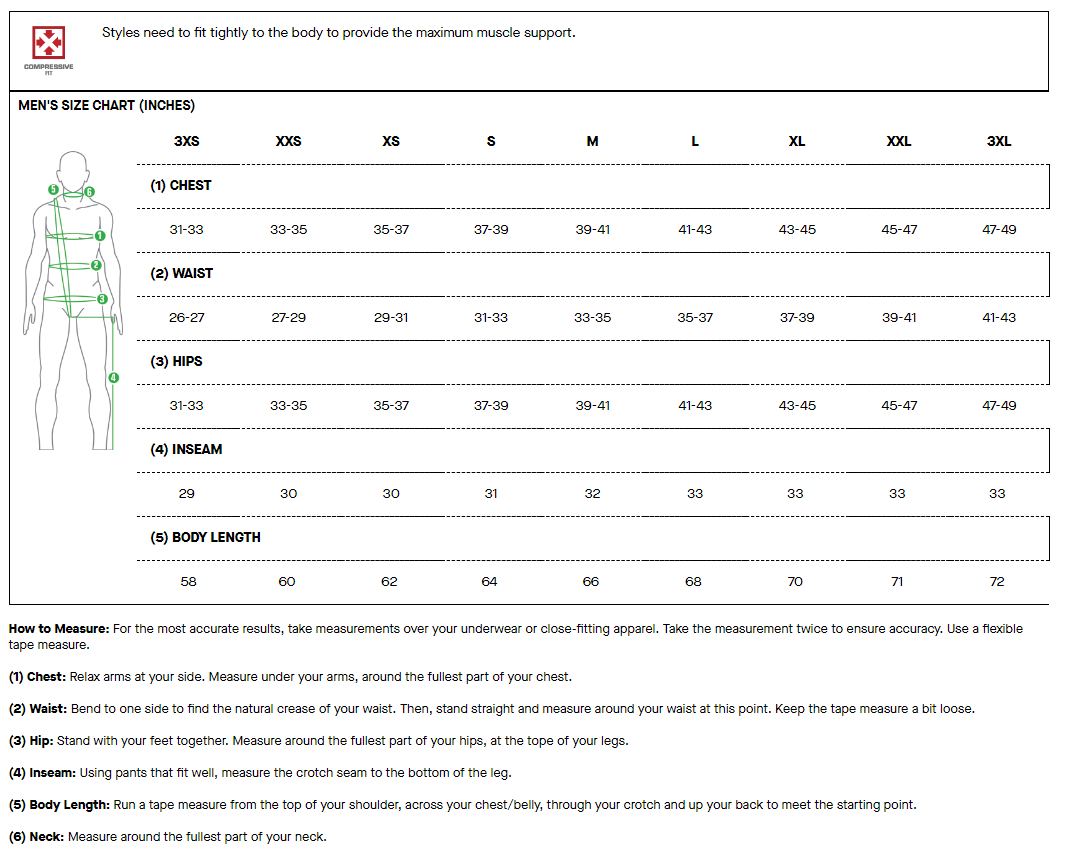 Louis Garneau men's compressive fit sizing chart