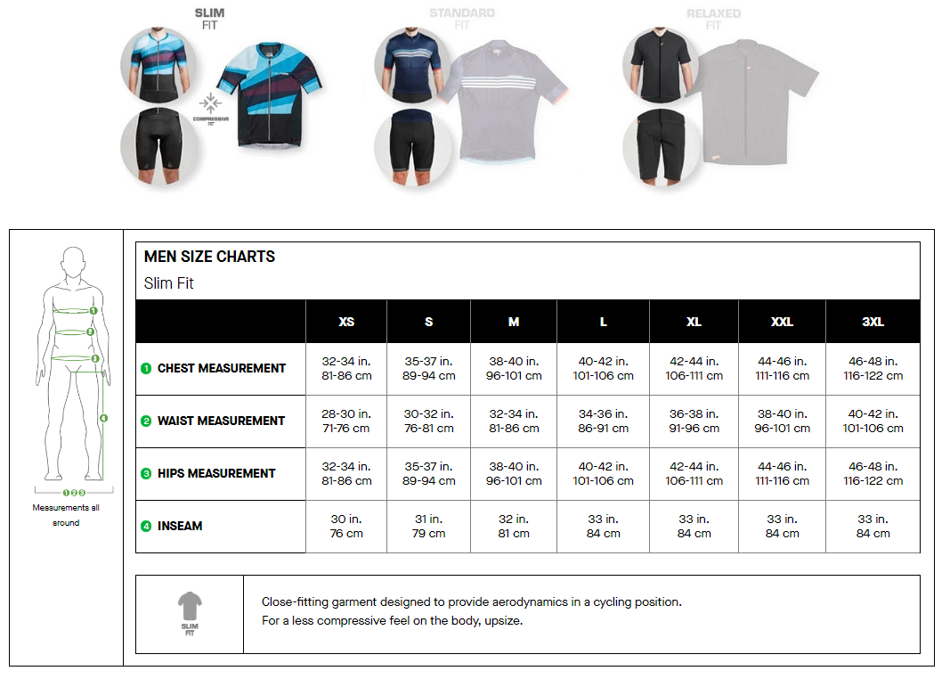 Louis Garneau men's slim fit sizing chart
