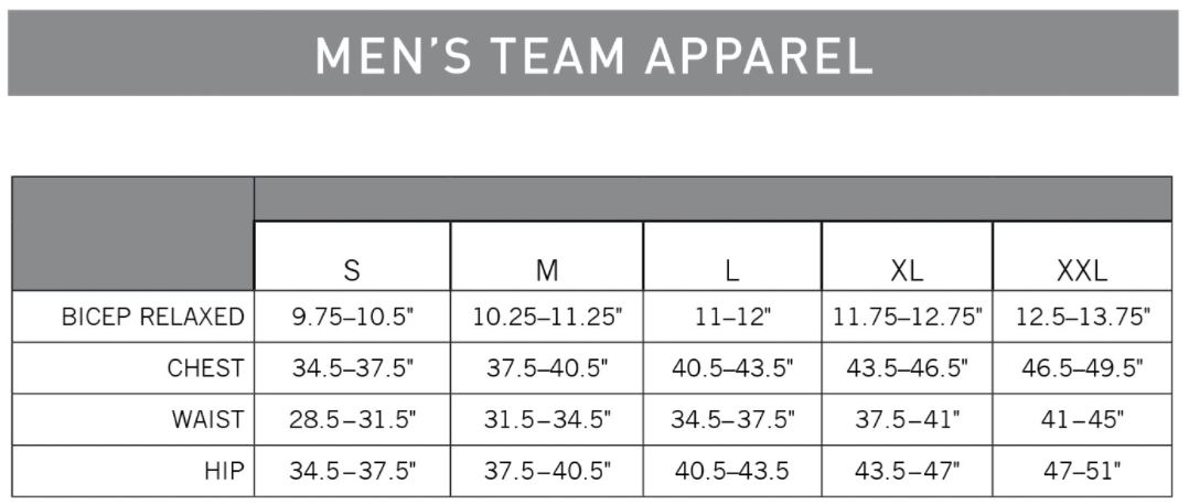 Pearl Izumi Men's Team Apparel sizing chart