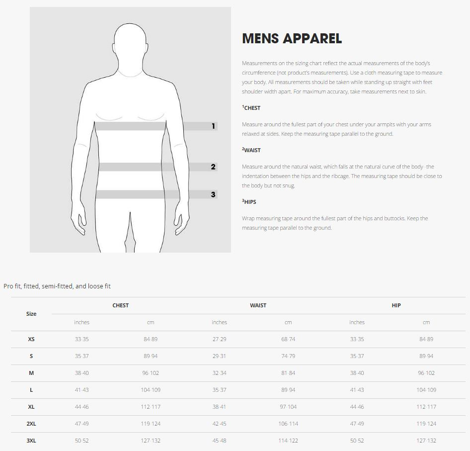 Bontrager Mens Apparel Sizing Guide
