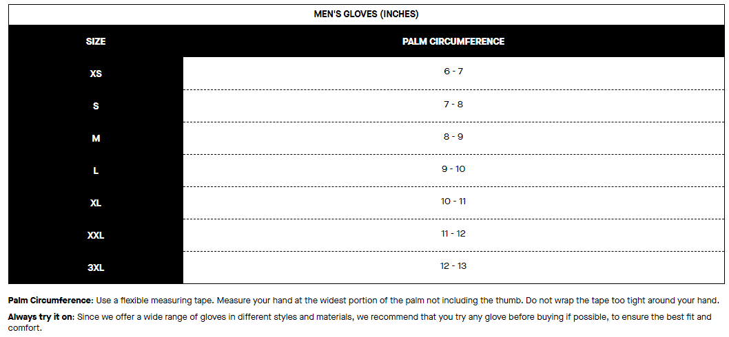 Louis Garneau men's gloves sizing chart