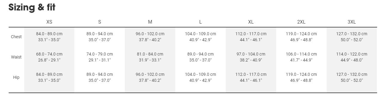 Bontrager mens sizing chart
