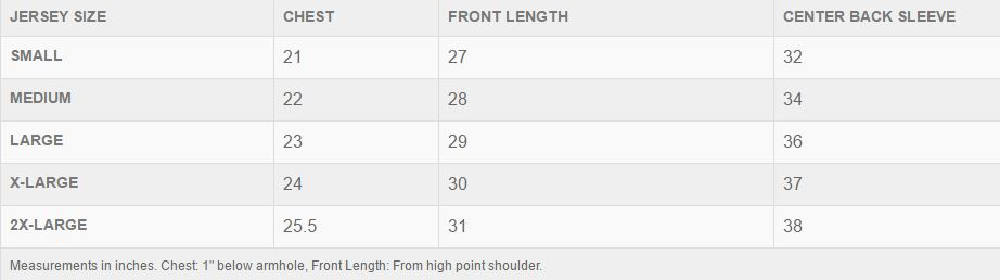 Troy Lee Designs jersey men's sizing chart