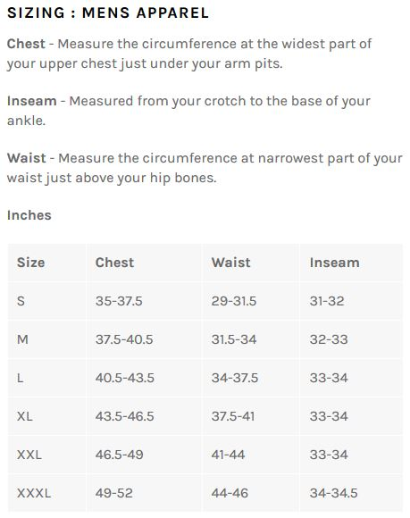 Bellwether Men's apparel sizing chart