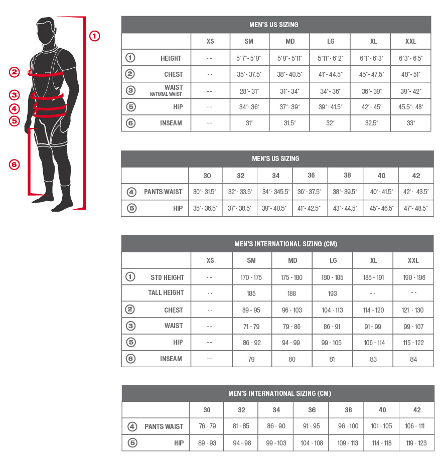 Specialized's men's sizing chart