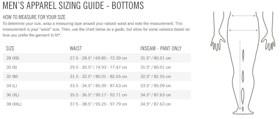 Giro Men's apparel sizing guide bottoms