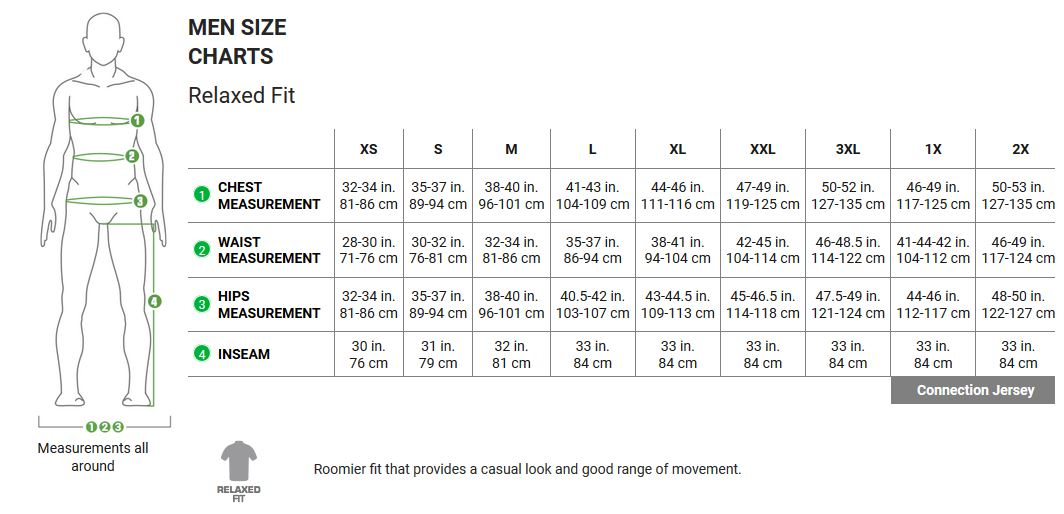 Garneau mens relaxed fit apparel sizing chart