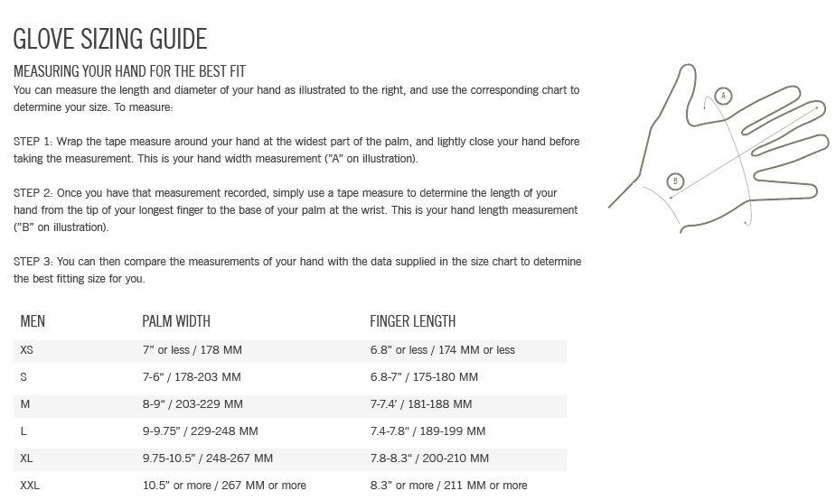 Giro Men's glove sizing chart
