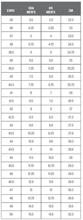 Specialized Men's shoe sizing chart