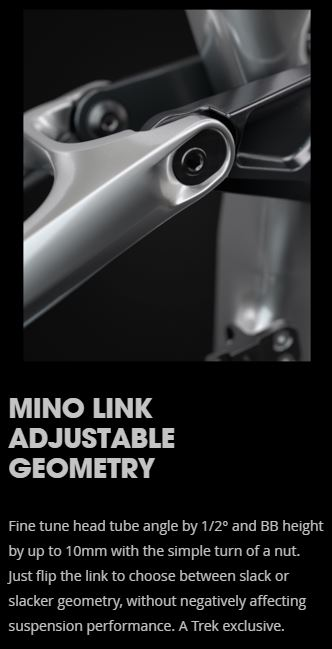 Adjust head angle and bb height by rotating the link