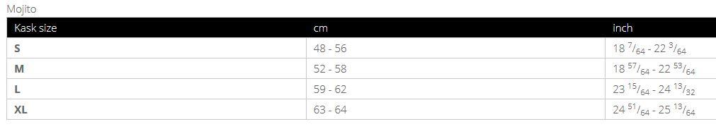 Kask Mojito size chart