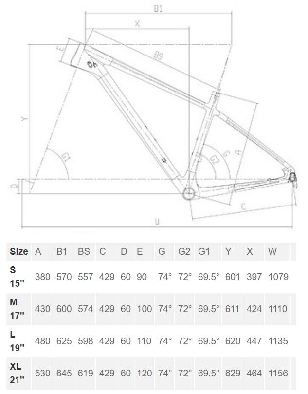 Bianchi Nitron 9.3 geometry chart