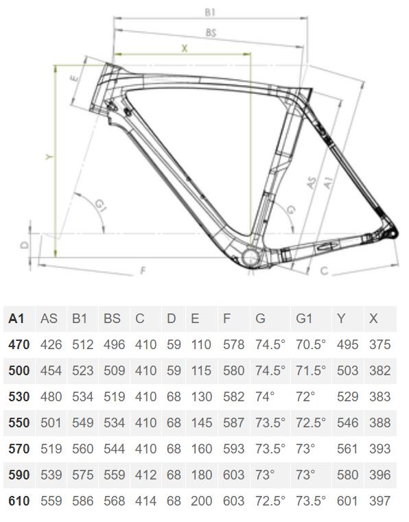 Bianchi Oltre XR3 Disc geometry chart