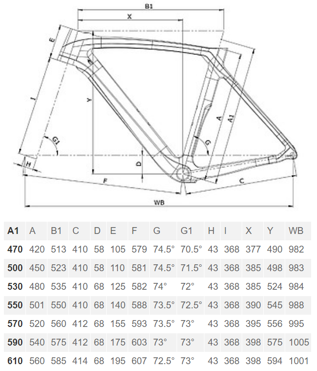 Bianchi Oltre XR4 Disc geometry chart