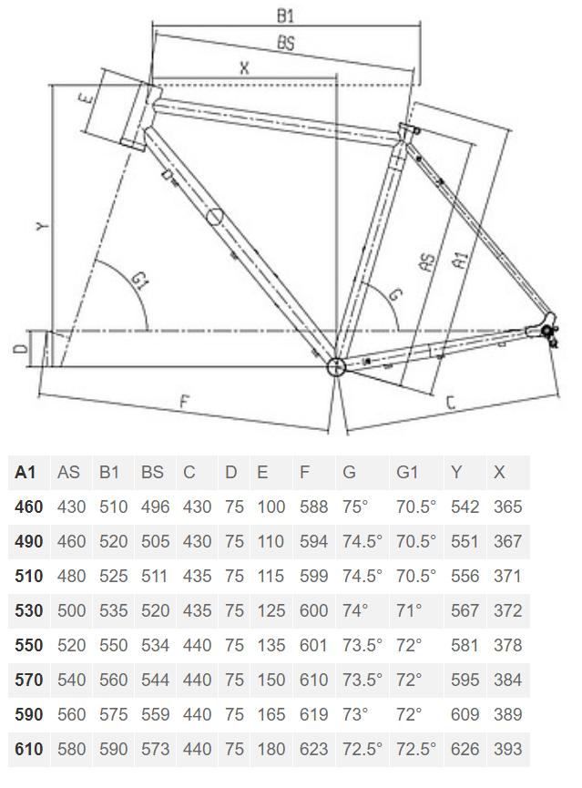 Bianchi Orso 105 geometry chart