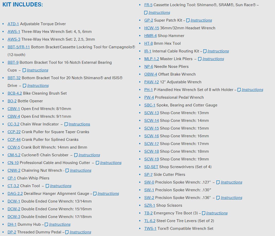 Park Tools PK-2 tool list