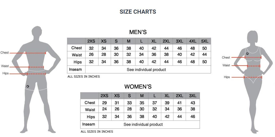 Pactimo clothing sizing chart