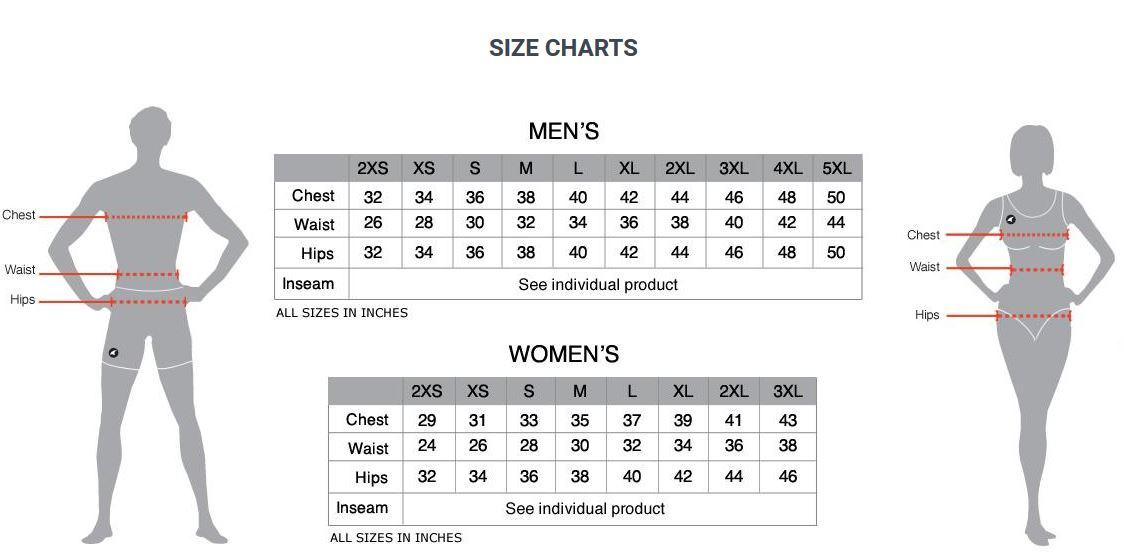 Pactimo clothing sizing chart