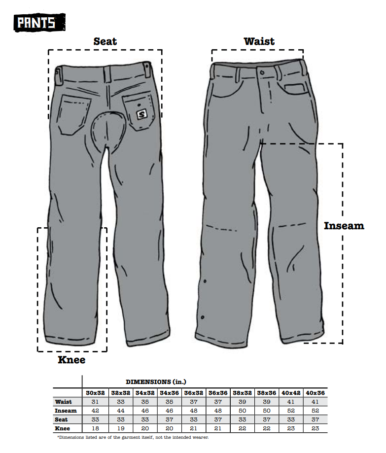 Surly Pants sizing chart