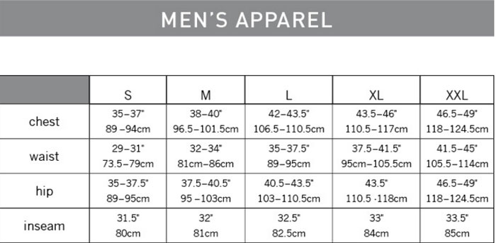 Pearl Izumi Elite Barrier Jacket Geometry Chart