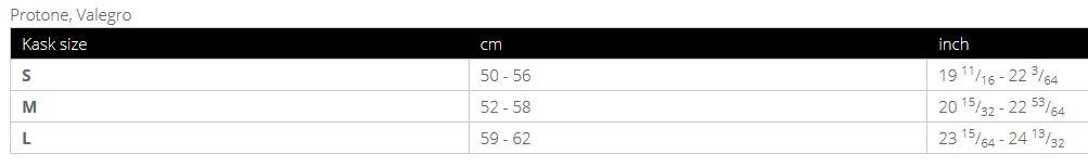 Kask Protone sizing chart